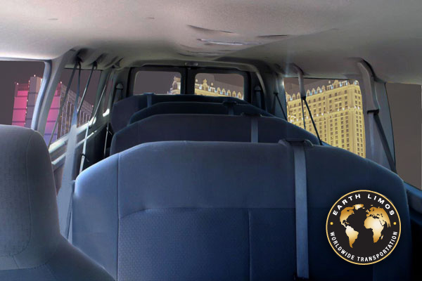Earth Limos of LAS VEGAS 13 Passenger Shuttle Van Interior Shot 3