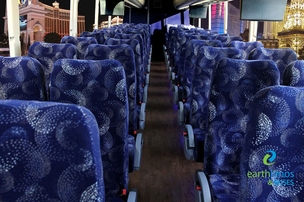 Earth Limos of LAS VEGAS 55 Passenger Coach Bus Interior Shot 3