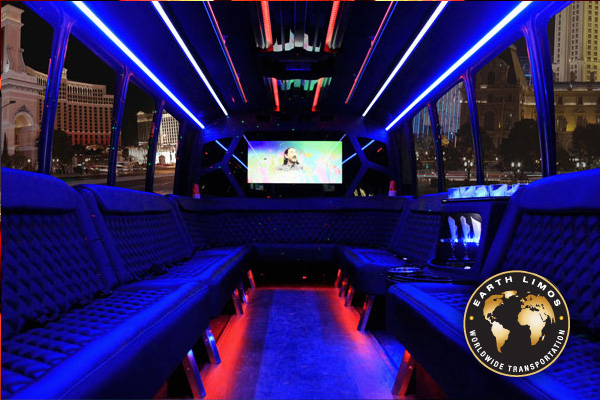 Earth Limos of LAS VEGAS 26 Passenger Party Coach Limo Interior Shot 3
