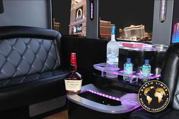 Earth Limos of LAS VEGAS 35 passenger party bus Interior Shot 3