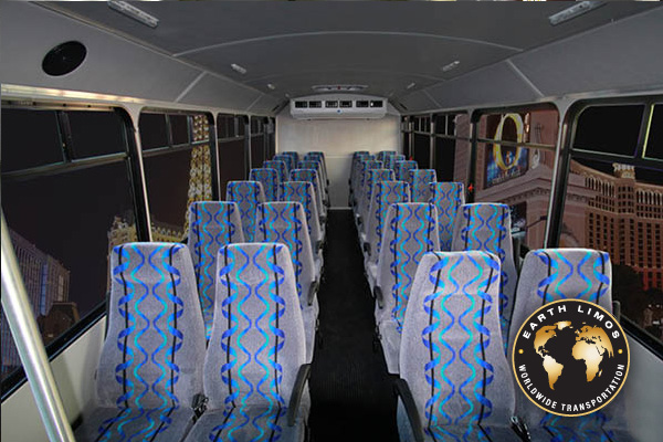 Earth Limos of LAS VEGAS 21-28 passenger shuttle bus Interior Shot 3
