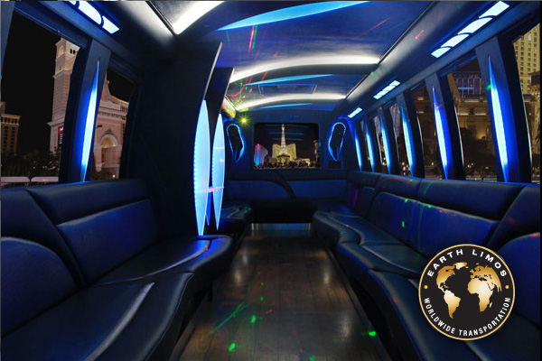 Earth Limos of LAS VEGAS 32 passenger party bus Interior Shot 3