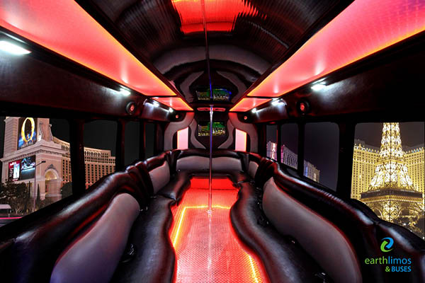 Earth Limos of LAS VEGAS LUXURY PARTY BUS 22 PASSENGER LIMO COACH Limo Interior Shot 3